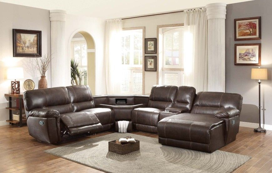 Leather Sectional Sofa With Recliner 8brown Recliner Sectional