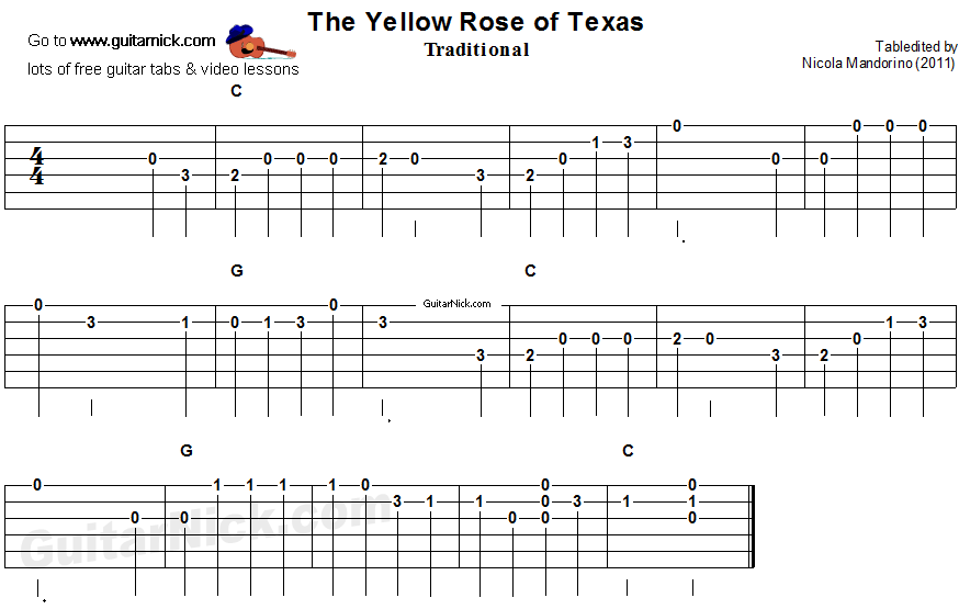 The Yellow Rose of Texas - easy song for beginners - guitar tab ...