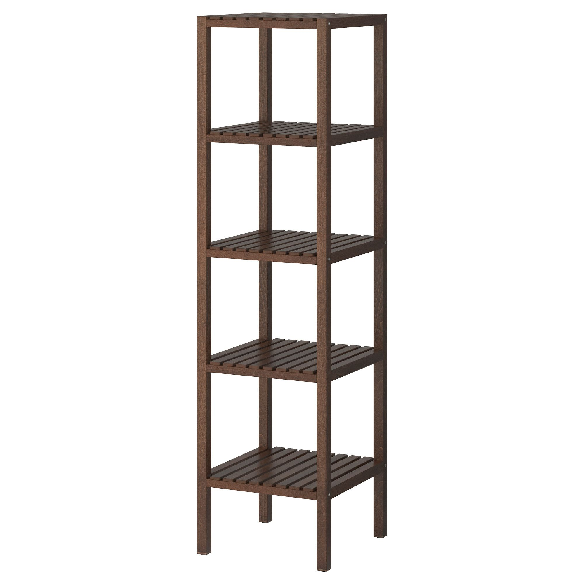 Ikea Badregal molger shelf unit birch brown open shelves and bathroom stuff