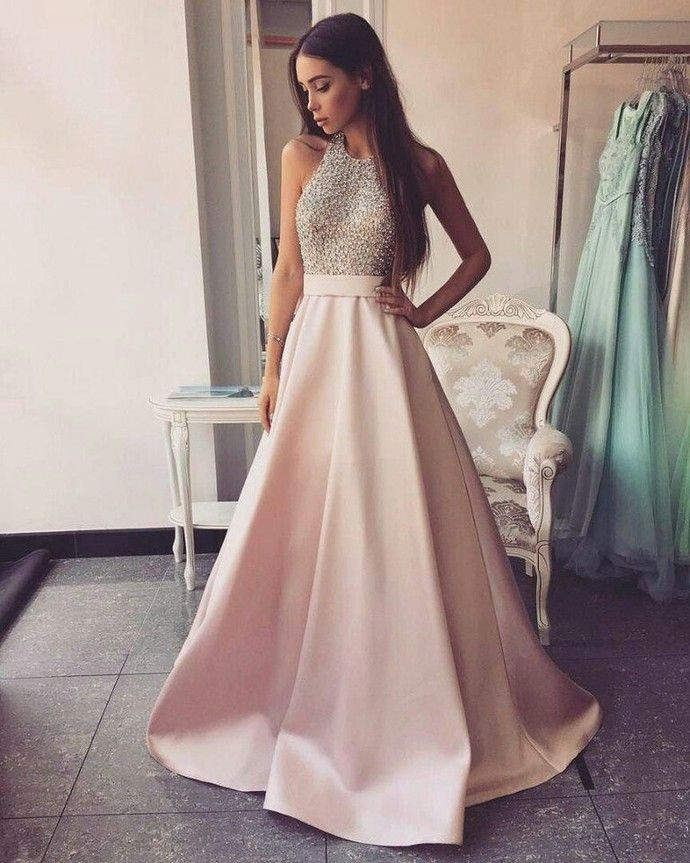 11d73a634df High Neck Long A-line Pink Prom Dresses Beading Open Back Satin Prom Dresses