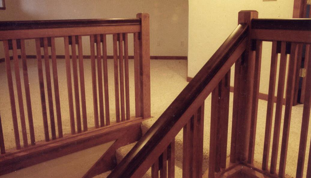 Pecan Mission Style Railings Alder Spring Woodworking   Craftsman Style Stair Railing