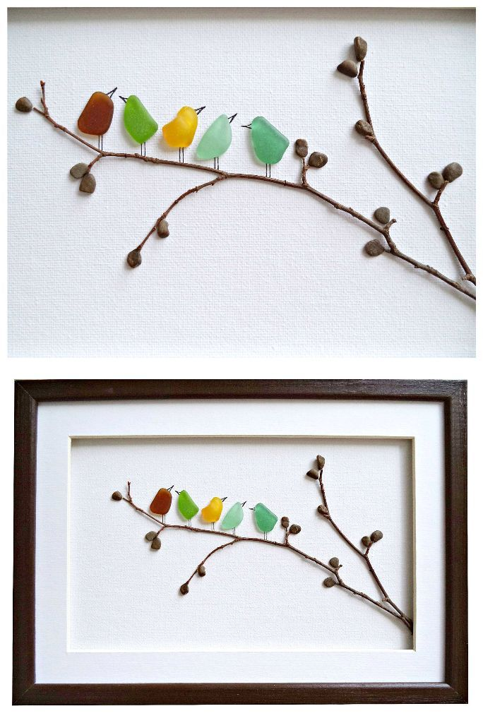 Photo of Sea glass birds on twig tree branch with pebble leaves framed art. Nice!