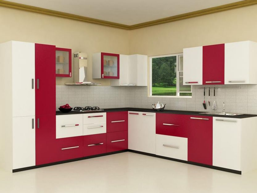 Cabinets are arranged accordingly to beautify kitchen and fill in the space