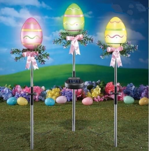 Beautiful easter eggs solar yard stake lights berry bow accents beautiful easter eggs solar yard stake lights berry bow accents 3 pc set aloadofball Images