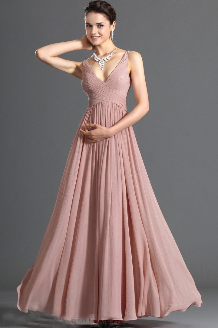 Dark Salmon V Neckline Soft Chiffon Floor Length Simple Designer
