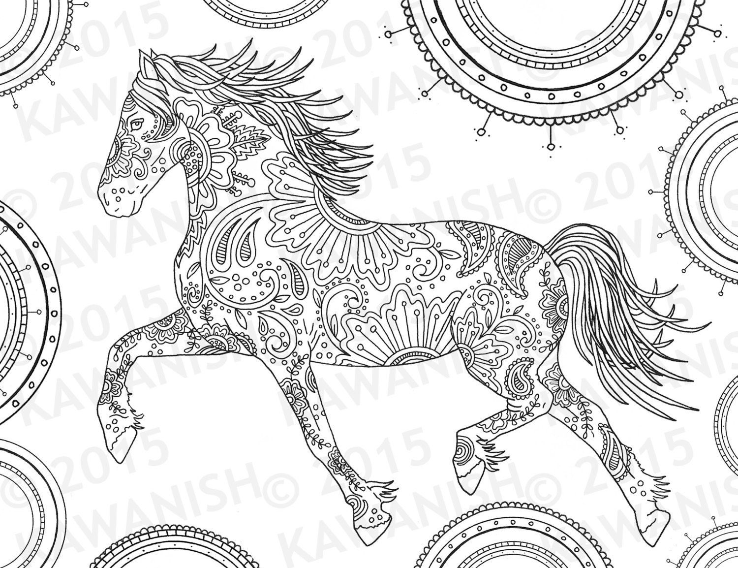 Stress relief coloring pages mandala - Horse Adult Coloring Page Gift Wall Art Mandala By Kawanish