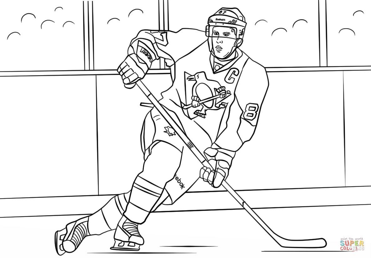 Dessin A Colorier Hockey 8 In 2021 Sidney Crosby Penguin Coloring Pages Coloring Pages