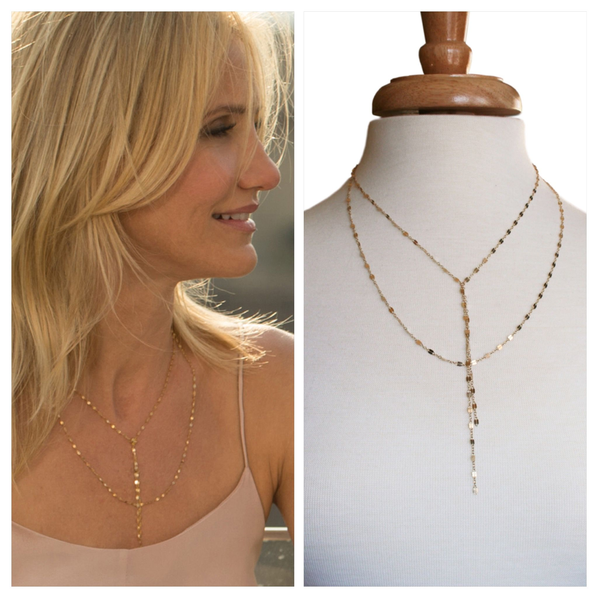Cameron Diaz Inspired Necklace, Double Strand Lariat Necklace