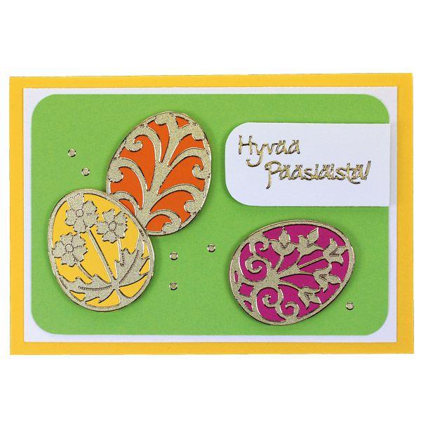 Ääriviivatarrojen avulla valmistettu värikäs pääsiäiskortti. Tarvikkeet ja ideat Sinellistä!