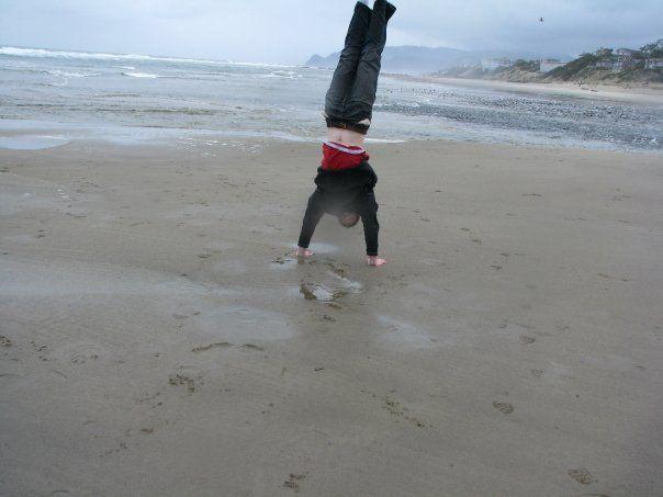 Handstands on the beach...Picture taken near Salem, Oregon...