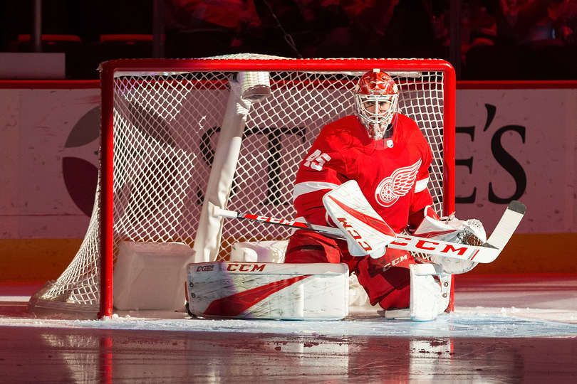 Detroit Mi October 28 Goaltender Jonathan Bernier 45 Of The Detroit Red Wings Stretches Prior To The Beginning Of Detroit Red Wings Red Wings Dallas Stars