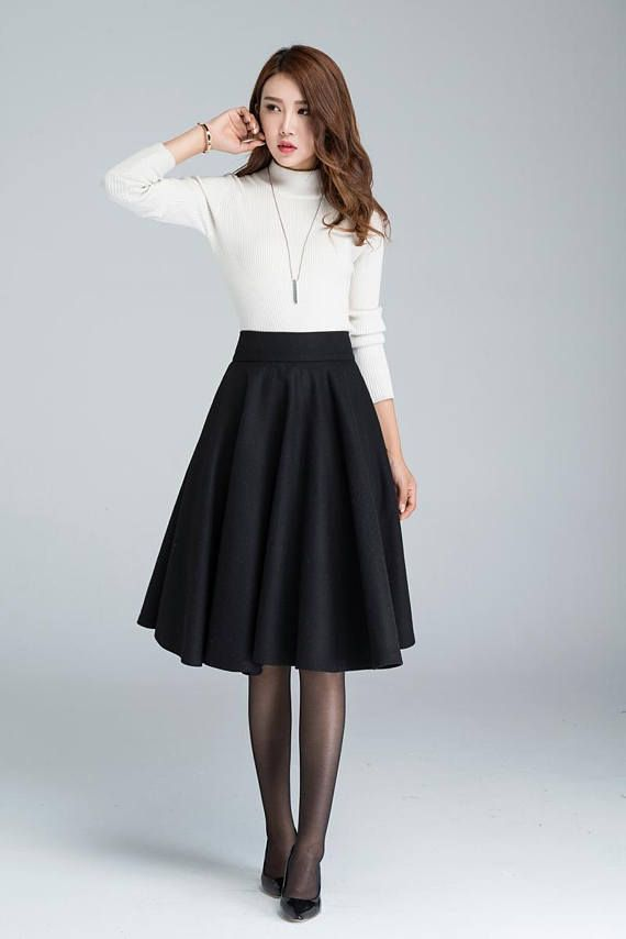 efdf5b299 Wool circle skirt, black skirt, winter skirt, skater skirt, knee ...