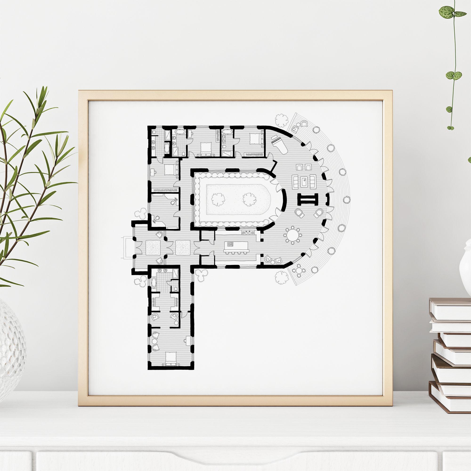 27 Alphabet Floorplans Ideas Greeting Card Art Alphabet Floor Plan Design