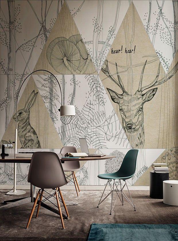 Tons calmos decoram sala versátil para trabalho e refeições · home interior designotterhome