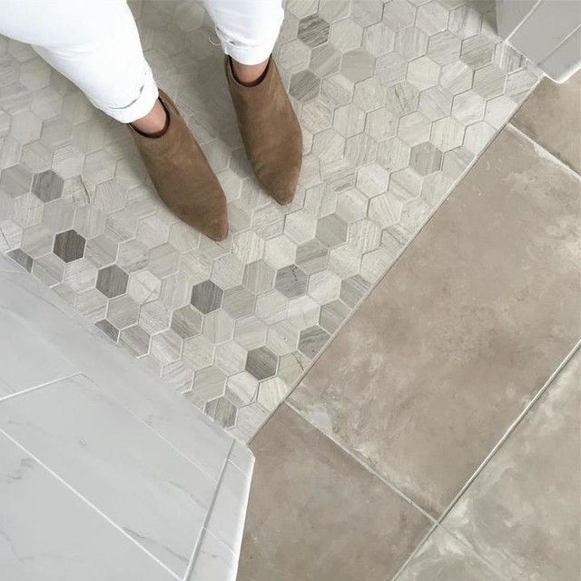 Bathroom Floor Tile - Legno Honed Hex Travertine Mosaic Floor Tile - 2 X 2 In.
