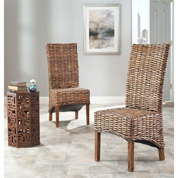 Safavieh Rural Woven Dining St Thomas Isla Indoor Wicker Brown High Back  Dining Chairs  Set of 2  by SafaviehSafavieh Rural Woven Dining St Thomas Isla Indoor Wicker Brown  . Indoor Rattan Chairs. Home Design Ideas