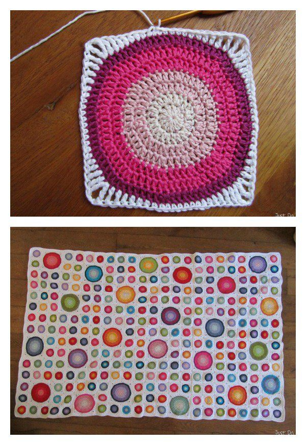 Large Circle in Square Blanket Free Crochet Pattern | GRANNIS ...