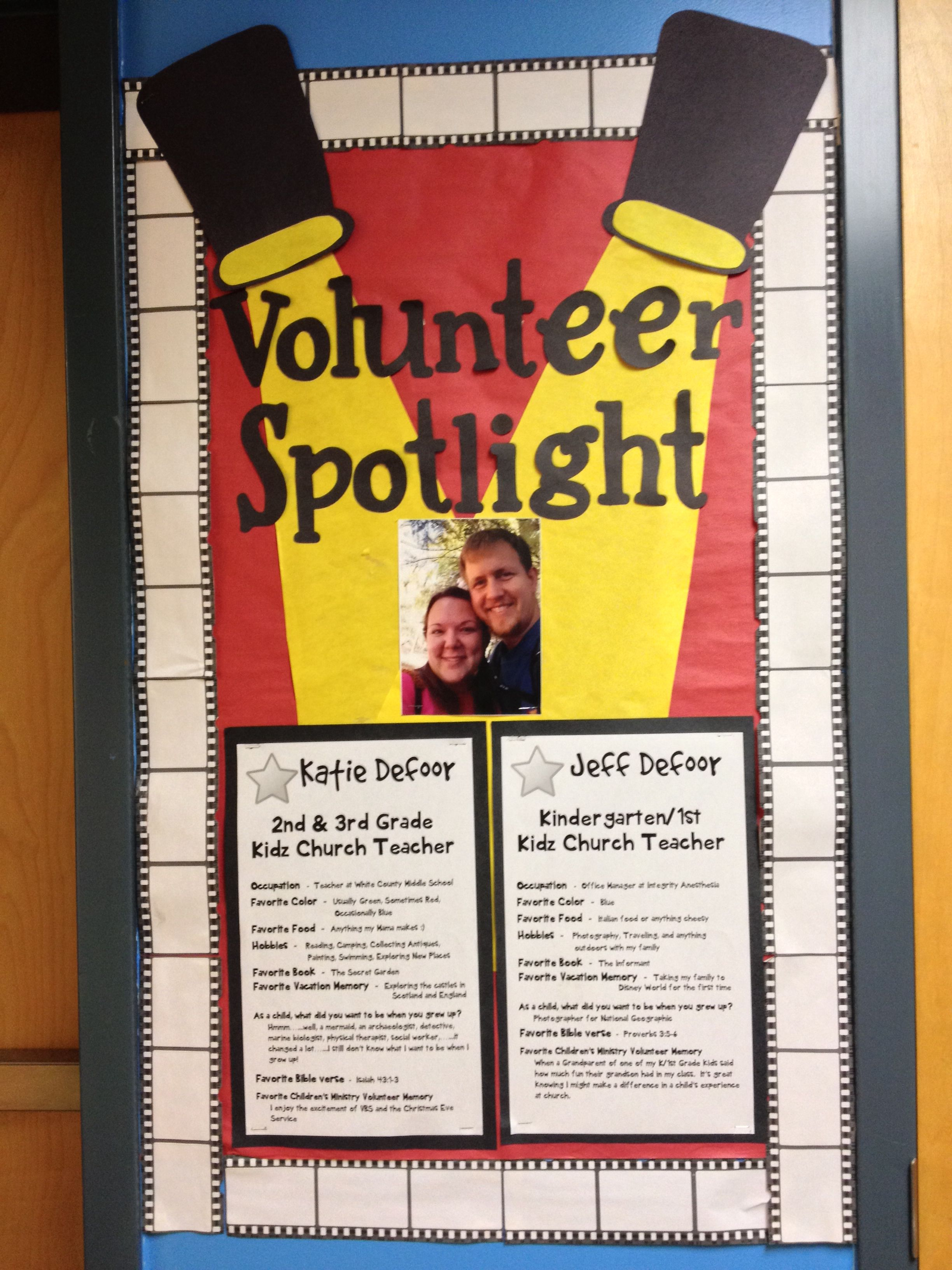 Kidmin Volunteer Spotlight Board. Great way to highlight your ...