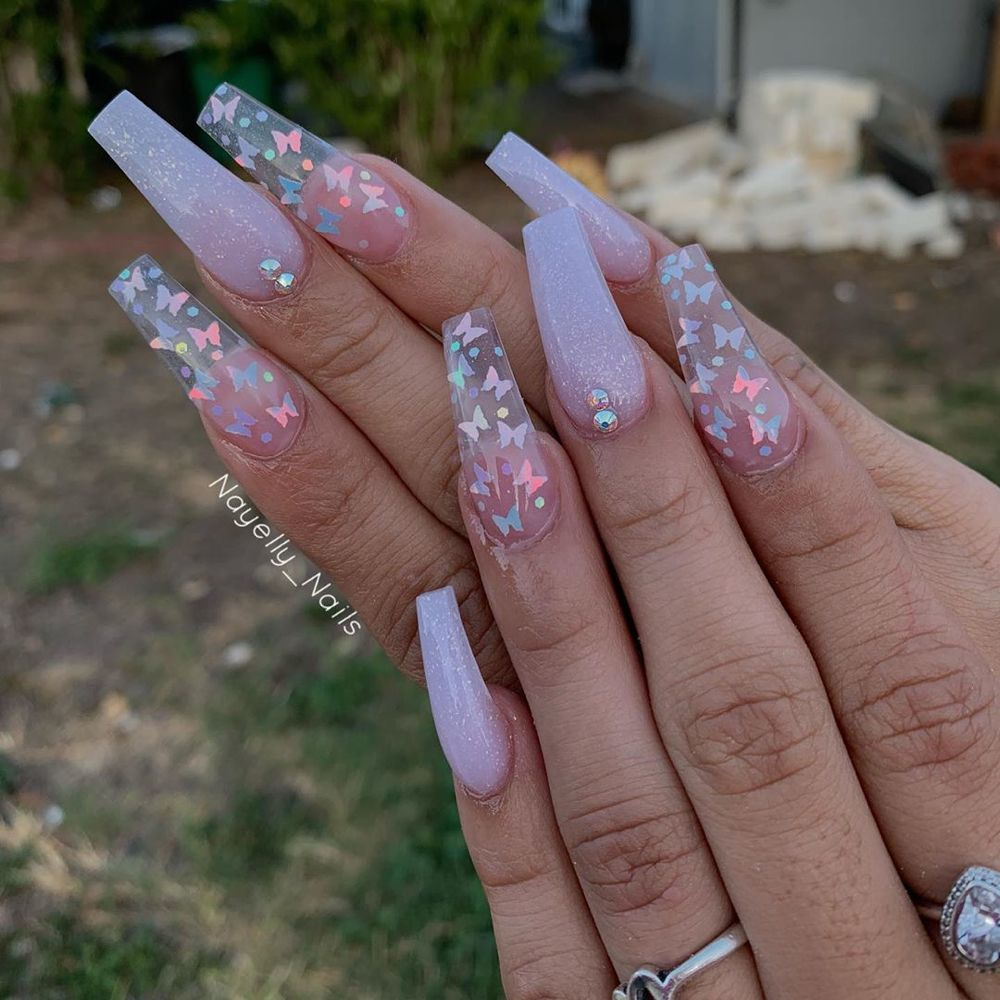 Nayelly Nails On Instagram I Love What I Do Butterflies From Nailheavensupplystore Clear Acrylic Nails Pink Acrylic Nails Cute Acrylic Nail Designs