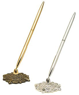 Pen Set with Base Gold Filigree Antique Style Guest Book Ideal for Weddings