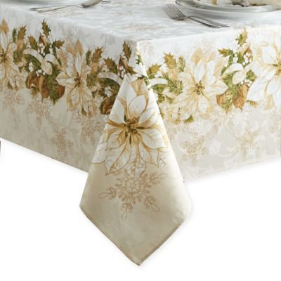 Buy White Poinsettia 70 Inch Round Tablecloth From Bed Bath Beyond