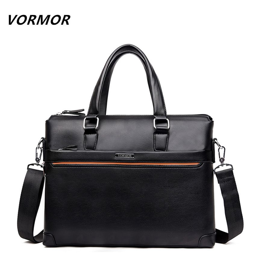 7f0434c3bf VORMOR Brand Fashion PU Leather Men s Handbags Casual Briefcase Designer  Man Zipper Handbag Messenger Bag for Men Brown Black