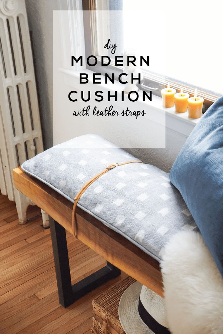 DIY Modern Bench Cushion with Leather Straps Bench