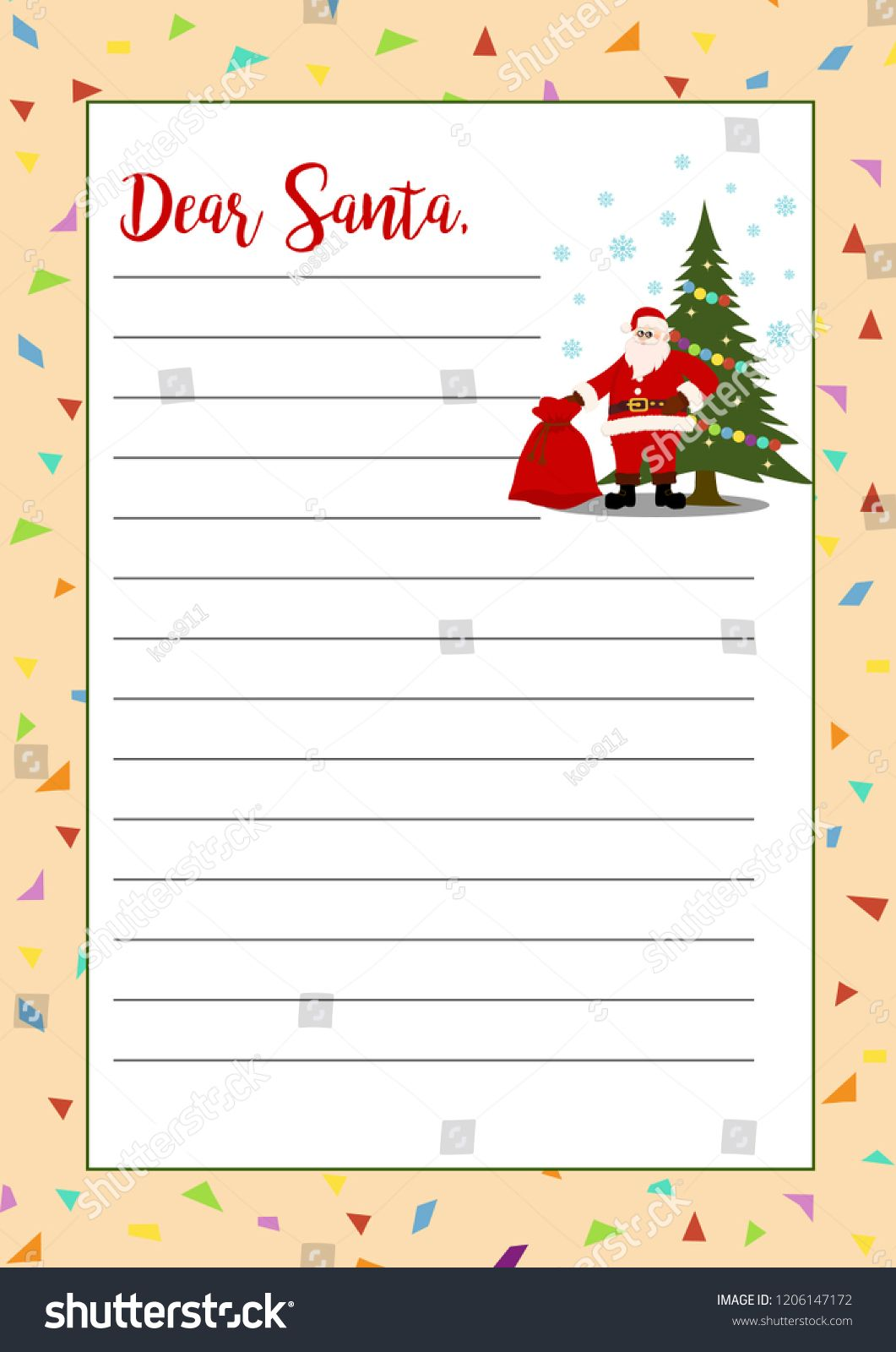Stokovaya Vektornaya Grafika Christmas Letter Santa Claus Regarding Christmas Note Card Templates Christmas Note Cards Holiday Card Template Note Card Template