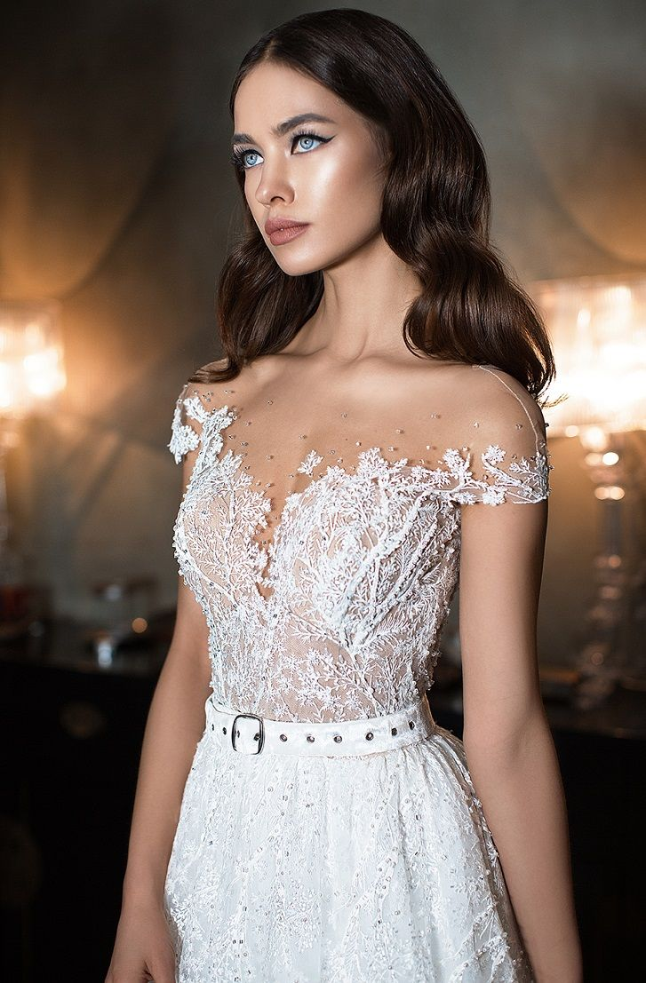 Cap sleeves Off the shoulder elegant silhouette bodice and a volume puffed skirt. Delicate belt emphasizes the waistline ball gown wedding dress #wedding #weddingdress #weddings #ballgown