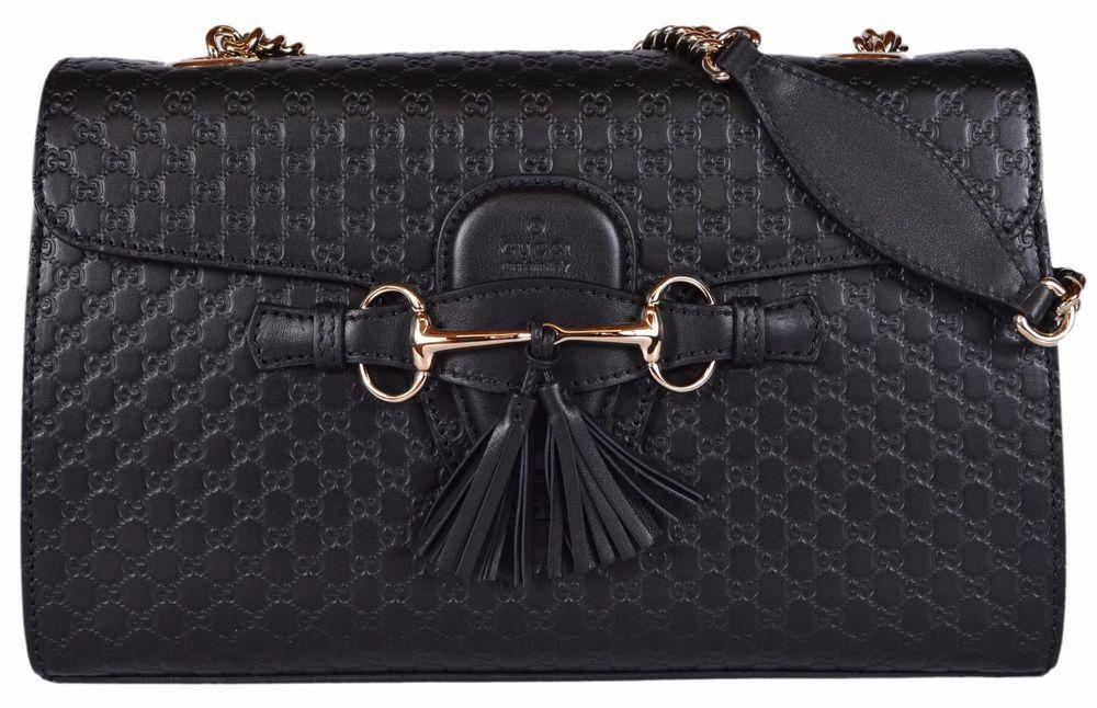 dc05a950eed NEW Gucci Women s 449635 Black Micro GG Guccissima Leather Emily Purse  Handbag  Gucci  ShoulderBag