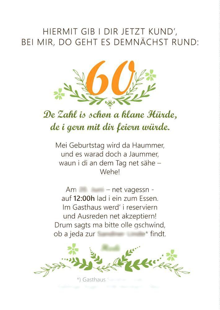Schon Einladung 60er Feier Und Einladung Text Gedicht 60