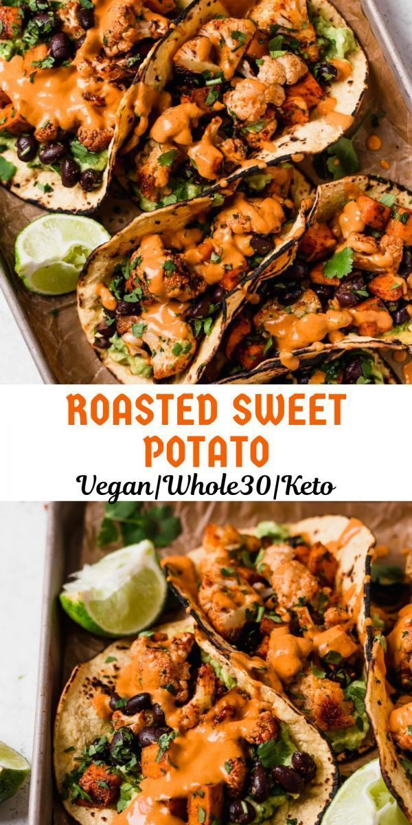 Roasted Sweet Potato With Cauliflower Tacos roasted sweet potatoes with cauliflower tacos are totally weeknightfriendly made in 40 minutes or less making this the perfect...