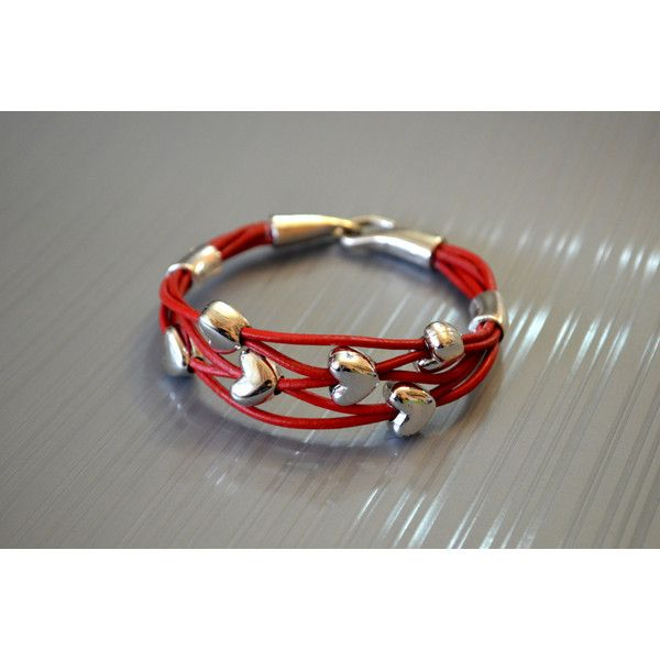 Red Leather Abacus Bracelet, golden colour bead leather bracelet,... (€18) ❤ liked on Polyvore featuring jewelry, bracelets, red jewelry, heart bangle, red bangles, beaded bangles and beaded cord bracelet
