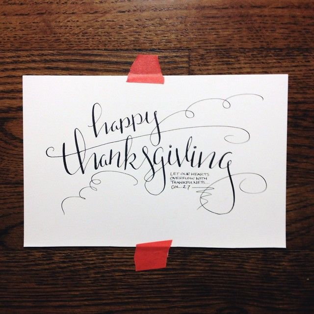"""""""Let our hearts overflow with thankfulness..."""" Col. 2:7 #thankful #Thanksgiving #handlettering #calligraphy #annalovestoletter"""