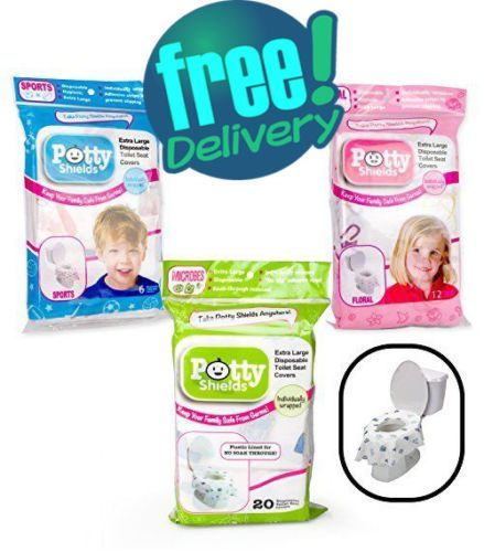 Floral- 6 Pack Toilet Seat Covers- Disposable XL Potty Seat Covers Individually Wrapped by Potty Shields No Slip Extra-Large
