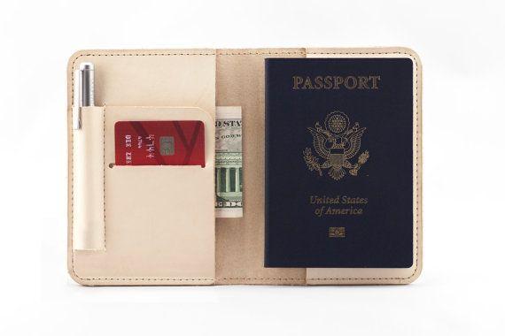 Leather Passport Holder- Natural/Veg Tanned