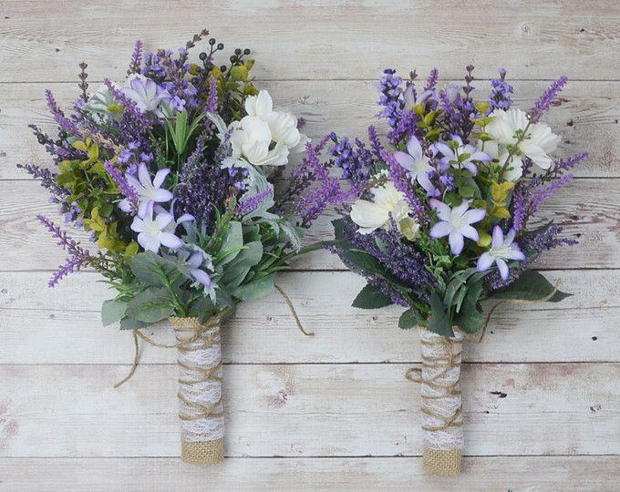 wedding dress bouquet purple simple bouquet ivory bouquet Rustic tulip and lavendar Bouquet wildflower bouquet bridesmaid bouquet