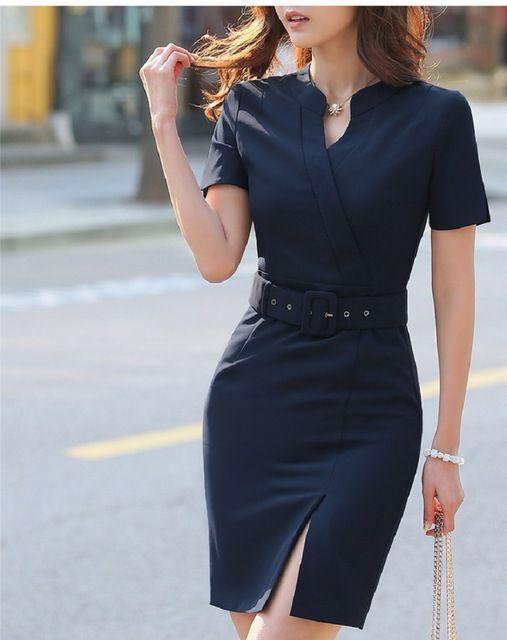 8908ef7cb663f Verano de Las Mujeres Vestido Delgado Desgaste Del Trabajo Del Vestido de  Oficina Moda Mujer Estilo OL Mujeres de Negocios Ropa de Manga Corta  Vestidos