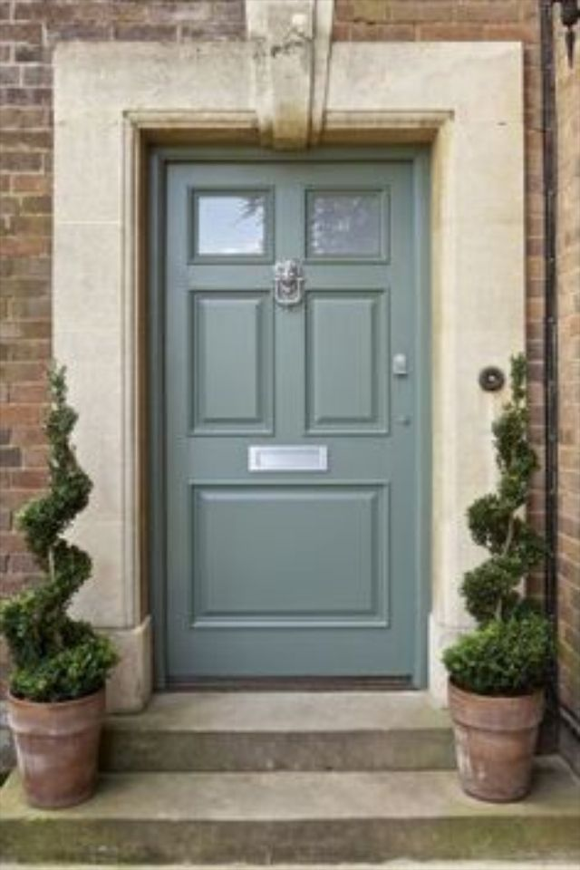 Try Farrow And Ball Blue Gray In Eggshell Front Door Paint Colors Painted Front Doors Green Front Doors