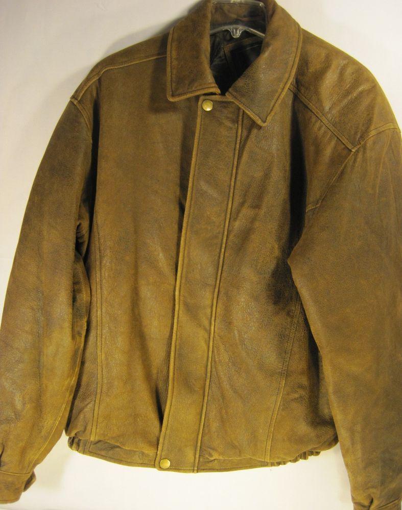Excelled Men Leather Bomber Jacket Vintage Size L Brown Brass Buttons Zipper [ 1000 x 787 Pixel ]