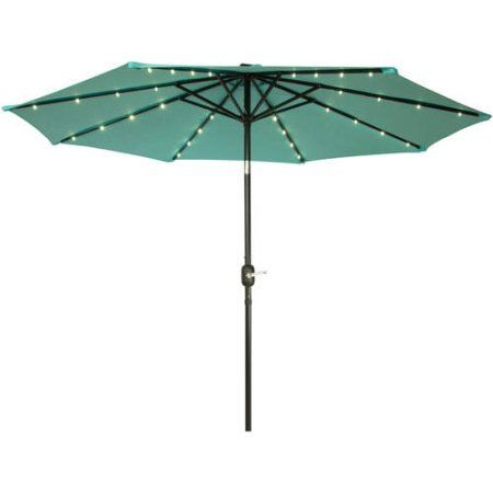 Deluxe Solar Powered Led Lighted Patio Umbrella 9 By Trademark