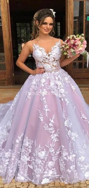Gorgeous Spaghetti Straps Ball Gown Prom Dresses With Appliques, Prom Dresses, VB02963 #tulleballgown