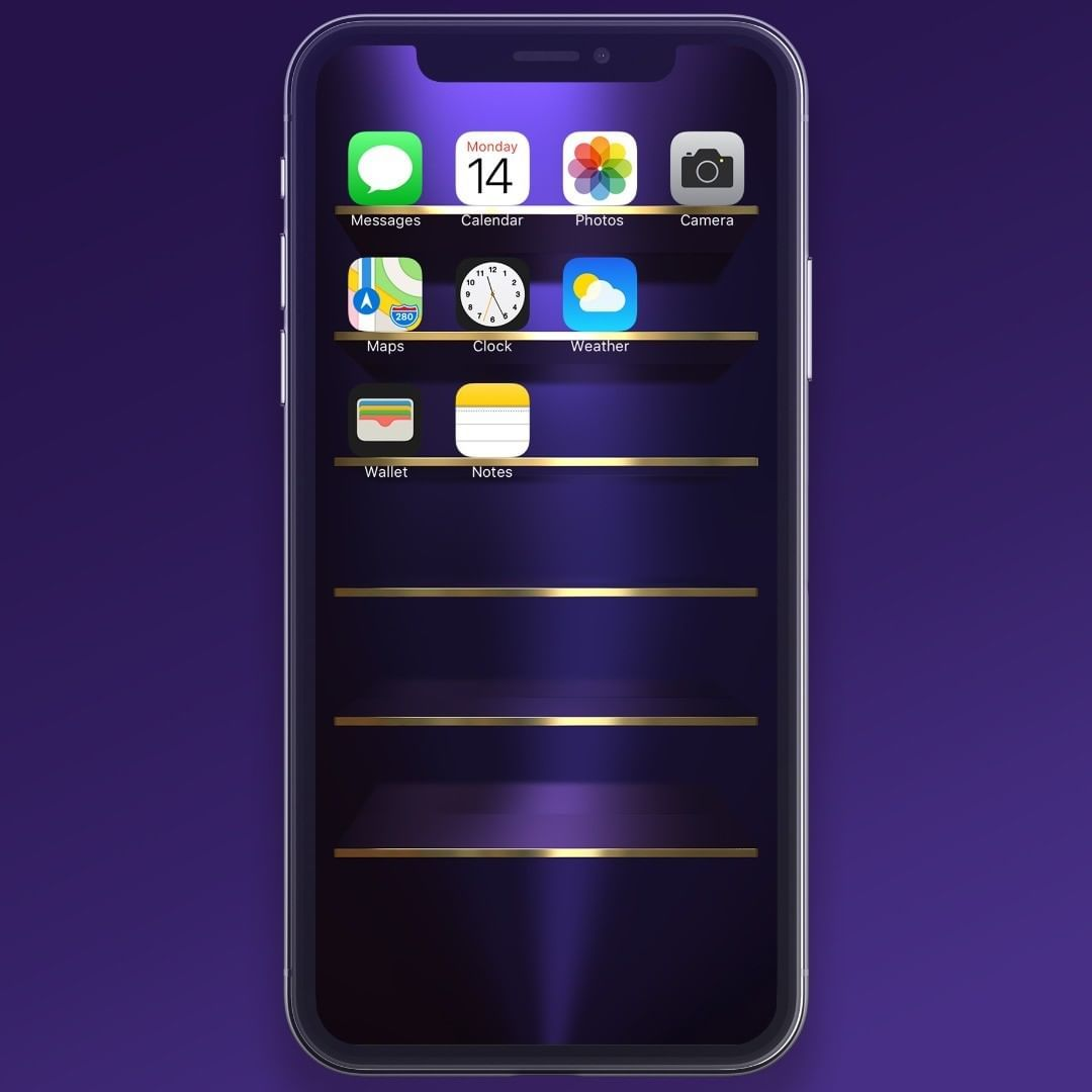 Purple Gold Shelves Wallpaper For Iphone X 11 Pro Max Wallpaper Shelves Gold Shelves Wallpaper