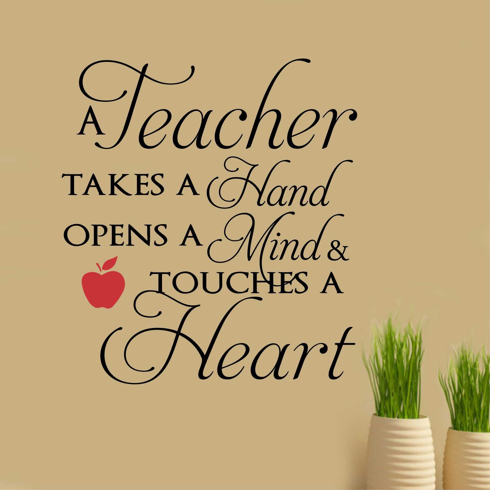 School Classroom Wall Decal A Teacher Touches A Heart