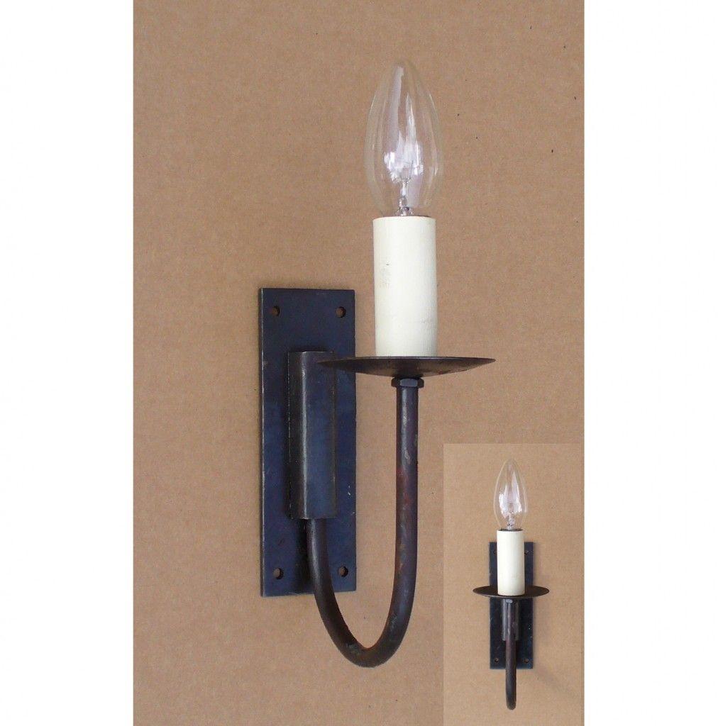 Adfix Ironmongery Single Wall Light Wrought Iron Hand Forged Beeswax Finish 1 Set Cottage Lighting Light