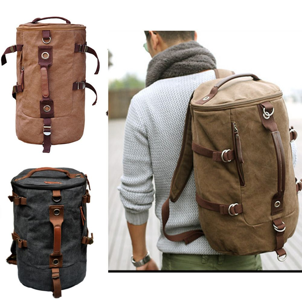 Men's Stylish Canvas Backpack Rucksack school bag Messenger Hiking ...