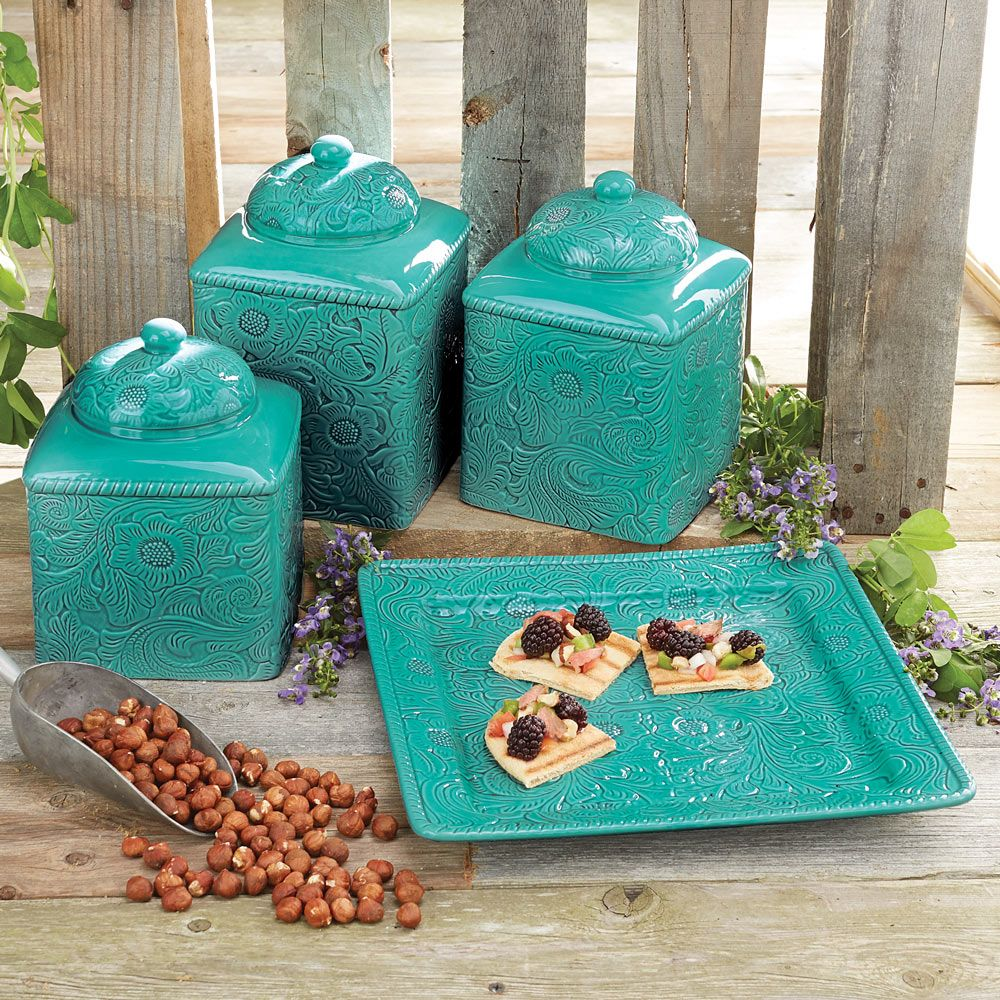 Colorful Kitchen Canisters Sets savannah-turquoise-kitchen-canister-set-and-platter-2.gif 1,000