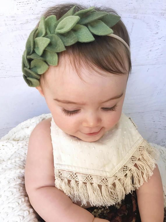 Photo of Green Leaf Crown, Leaf Headband, Vine Headband, Boho Baby Headband, Newborn Headband, Wreath Headband, Felt Flower Headband, Photo Prop