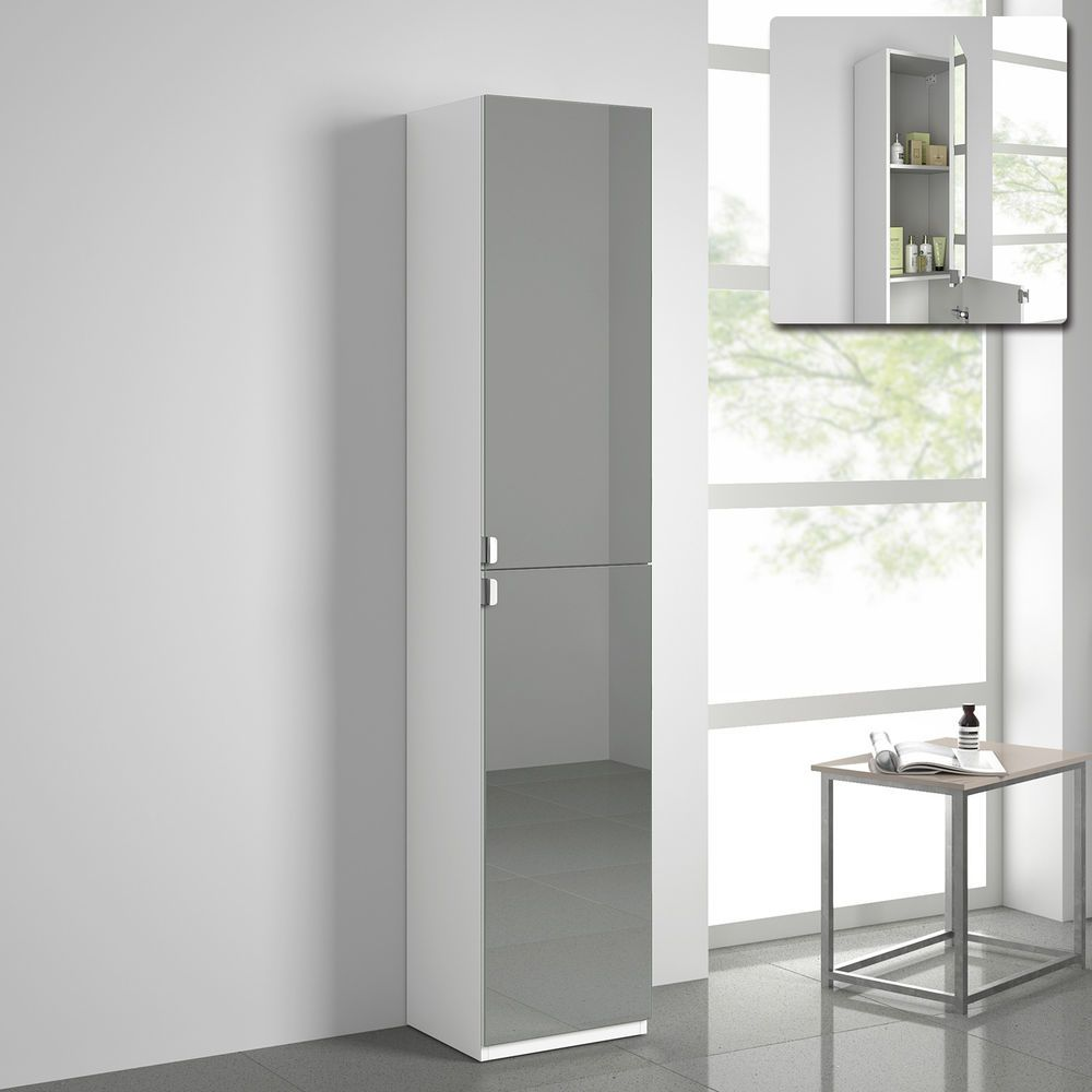 Modern Tall Bathroom Mirror Furniture Storage Cabinet Cupboard Unit ...
