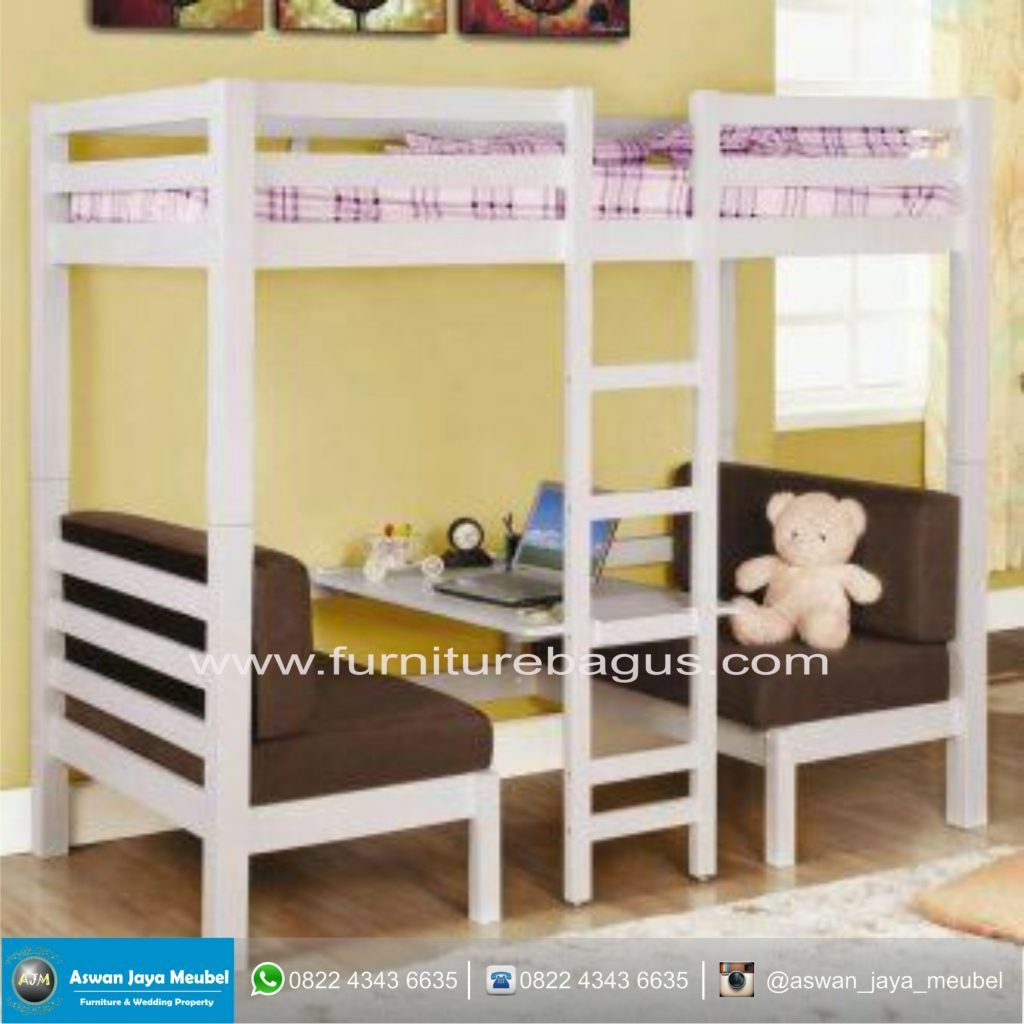 Wooden loft bed with desk  Tempat Tidur Anak Tingkat  interior  Pinterest  Bed room Mood